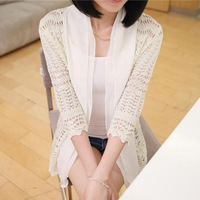 New spring summer Women Sweaters Colorful Solid V neck Crochet Knitted female tricotado Cardigan Fashion Outerwear WS48