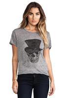 2014 women t-shirt Topper gauze mask skull T-shirt Rock hemp female gray round neck short sleeve T-shirt Slim