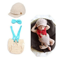 2014 New Arrival Newborn Photography Props One Set Baby Boy Girl Knitted Crochet Accessories Infant Hats & Caps Photo 3 Colors