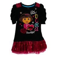 Retail summer dress 2014 Kids dancing party Black DORA pattern dresses for 4-7T girls Free Shipping w200055