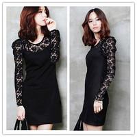 Sexy fashion lace dress temperament elegant ladies black long-sleeved Slim yards bottoming lace dress