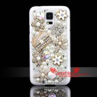 Free Shipping Items Bling Fashion Rhinestone Bag Metal Flower Transparent Crystal Case For Samsung Galaxy S5 I9600