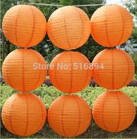 Free shipping 10pcs/lot 8''(20cm) Round paper lantern Orange paper lantern lamps festival wedding decoration party paper lantern