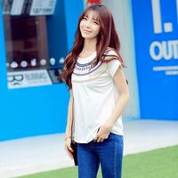 Drop shipping new 2014 fashion summer women clothing t-shirt national trend print short-sleeve desigual t shirt