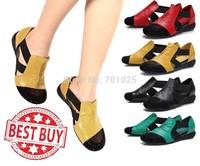 2014 sandals flat heel rhinestone cutout elevator colorant match casual shoes plus size women flats
