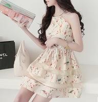 2014 new summer Korean style women dress plus size slim floral organza basic dress women free shipping n364