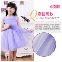 Retail! New 2014 baby girls dresses children clothing cotton ball gown dress kids bow lace princess clothes high quality