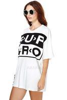 2014 women t-shirt Sup Bro letters printed loose short-sleeved T-shirt Women