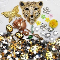Golden Leopard Phone Deco for DIY Phone Cases Gold Rose Butterfly Bling Pieces