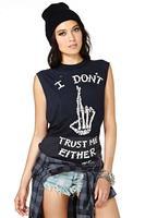 2014 women t-shirt I DON'T TRUST ME EITHER finger bones punk style sleeveless round neck short sleeve t-shirt