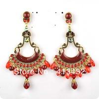 ER-08816 2014 new,4colors,10cm long,big drop chandelier vintage resin plastic earrings,fashion jewelry wholesale,