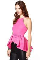 2014 women Chiffon Blouse Harness-style short in front long flounced skirt waist style sweet little shirt Slim  XS -XXL