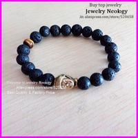 Free ship 10pcs Lava stone bead metal buddha head charm bracelet wholesale, yoga lava bead with tiger eye bracelet