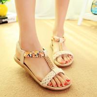 Fashion brief comfortable casual flat heel rhinestone flat open toe Women elastic strap women sandals