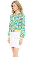 2014 women jacket  Flower print jacket ribbed collar fitted jacket cuffs size XS-XXL