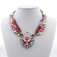 2014 New Jewelry Crystal Flower Choker Fashion Women Exaggerate Pendant Chunky Statement Necklace