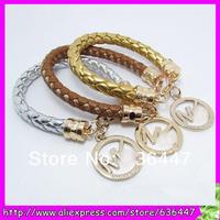 Free ship 10pcs Fashion Pu Leather charm Bracelet,Michael Alloy pendant Bracelet For Women and Men 10 colors pick