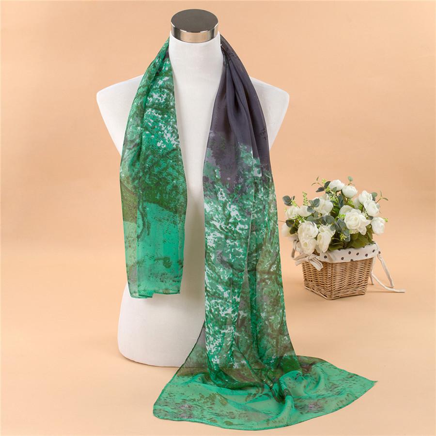 2014 New spring summer super soft long paint tree silk scarf print Chiffon women's Shawls beach scarves drop shipping MT-0209(China (Mainland))