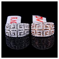 New 18k rose gold/platinum plated G style high quality brand rhinestone Geometric vintage fashion finger ring (UVOGUE VR00058)