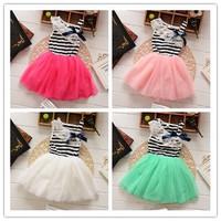 New 2014 girls dress kids girl dress frozen casual striped lace tutu dress children Bow Oblique collar Tulle ball gown dress