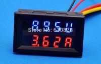 Free ship, 2 in 1 Dual Display DC 10A 0 to 100V Car Battery Meter Digit Digital Amps Gauge Volt Voltmeter  Red Blue LED Monitor