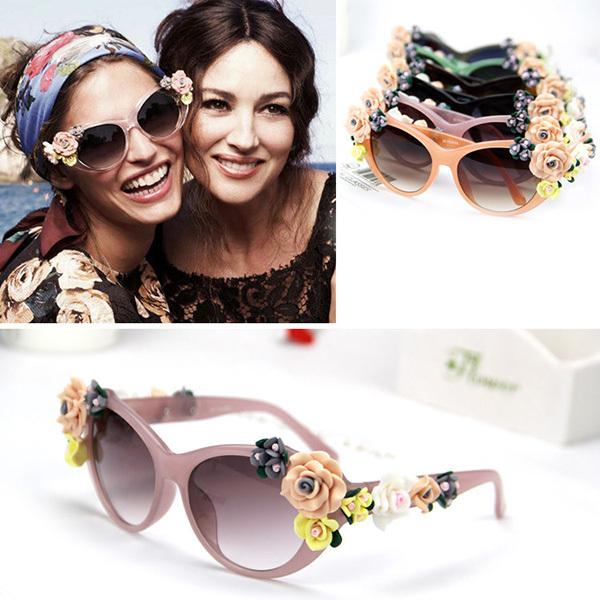 Fashion Oversized Women's Girls Sunglasses Retro Decor Floral Flower UV Glasses Free shipping & Drop shipping(China (Mainland))