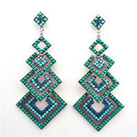ER-010430  9.4cm long high quality square cluster chandelier ocean blue flicker acrylic earrings for wedding