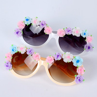 Girl Female's Handmade Flower Round Beach UV Sunglasses Oversized Eyeglasses Free shipping & Drop shipping