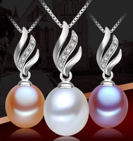 9-10mm Teardrop  natural pearl pendant necklace
