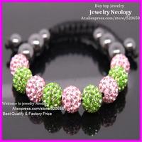 10pcs/lot Very beautiful shamballa bead pave AKA bracelet pink and green shamballa hand-made macrame charm bracelet