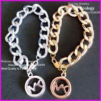 Free ship! Newest fashion Gold Silver Chunky chain Michae bracelet, metal Alloy chain bracelet Women bracelet  20pcs /lot