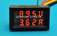 Free ship, 2 in 1 Dual Display DC 10A 0 to 100V Car Battery Meter Digit Digital Amps Gauge Volt Voltmeter  Red & Red LED Monitor