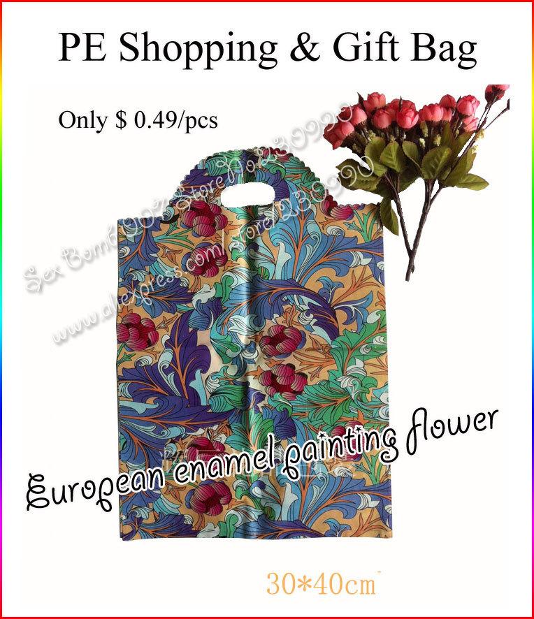 Zakka 50pcs/lot Gift / Clothing Package Bags Enamel Painting Flower Pattern Print 30x40 cm Portable PE Plastic Shopping Bag Tote(China (Mainland))