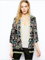 Spring Autumn New 2014 Women's Japan Kimono Open Stitch Coat With Floral Print Outwear Free Shipping