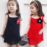 2014 New Summer Children Vest Sleeveless Dress Girls Black or Red Solid Pleated skirt Flower Strap Dress