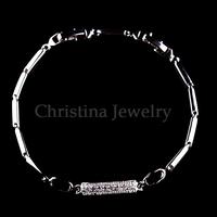 platinum plated copper square romantic cubic zirconia bracelet Valentines Gift