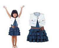 Free/Drop Shipping 2014 Summer baby Girls dress set Children's clothing Kids navy denim dress +vest+ belt Clothes Suits