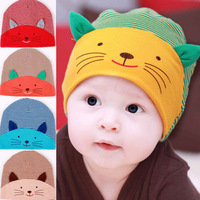 Free Shipping 5pcs/ lot 100% Cotton Baby stripe hats infant autumn winter animal cat hats kids fashion caps Christmas headgear