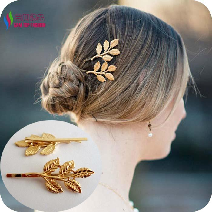 2014 hotest 2 designs fashion elegant golden alloy metal leaf hairpin hair clips accessories jewelry for women bijoux 2pcs/lot(China (Mainland))