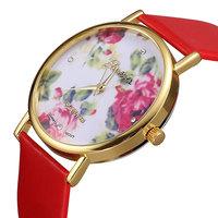 New 2014 Fashion Leather Strap Flower Dress watches, Luxury Brand Quartz Analog Women Wristwatches,Casual Woman Relogio Watch