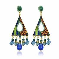 ER-019268 Elegant Hot Sale 2014 fabric Resin Rhinestone earrings Hand Made Costume Drop earrings Free shipping