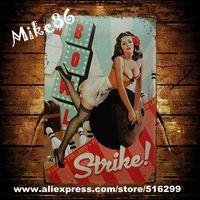 [ Mike86 ] Pin-up Girl Bowl Strike Metal Signs Poster Gift PUB Wall Art Iron Painting Craft Bar Decor B-215 Mix order 20*30 CM