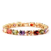 2014 fashion  18 K champagne gold colorful bracelet  AAA zirconal venus 17cm 19cm crystal bracelets for women
