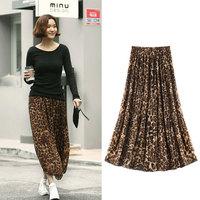 2014 European Style Fashion Retro Elastic Waist Pleated Skirt Leopard Chiffon Skirts Women Long Skirt 962# Free Shipping