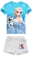 new 2014 children 's frozen clothing set( blue t-shirt + solid shorts)2pcs. cotton summer baby & kids clothes sets,