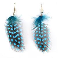 peacock brown feather Earrings for women 2014 Hot Sell Vintage Tear Drop Loop ER-50035