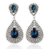 Fashion brand new 2014 lustre long crystal earrings brincos glass royal blue rhinestone water drop earrings