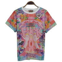 FREE SHIPPING Harajuku FUCK gradient soft candy color doodle letter short-sleeve t-shirt tshirt shirts for women girl
