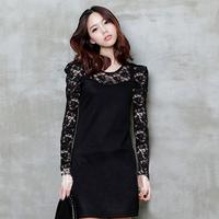 2014 lace one-piece dress plus size clothing slim  long-sleeve lace dress S-XXXL free shipping