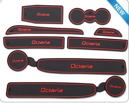 free shipping high quality Skoda octavia 8pcs/lot Gate slot pad rubber cup mat/pad car Interior accessories(China (Mainland))